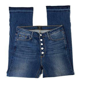 Just Black Cropped Raw Hem Button Fly Jeans - 29